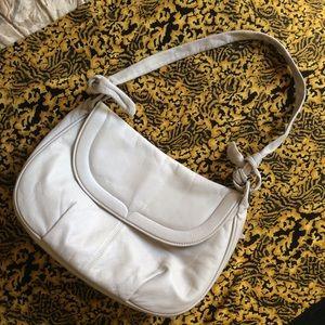 Vintage Bags - Vintage SMOOTH soft light grey leather purse
